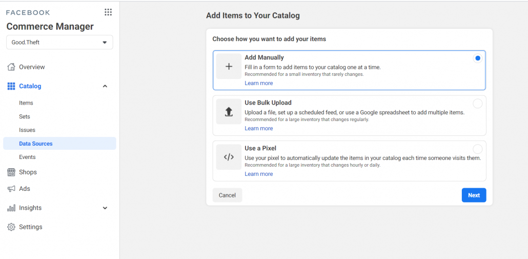 How to upload Facebook Catalog