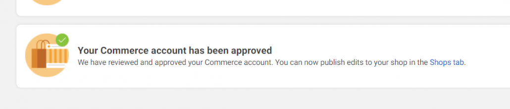 Commerce account has been approved